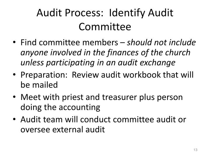 Audit Process:  Identify Audit Committee