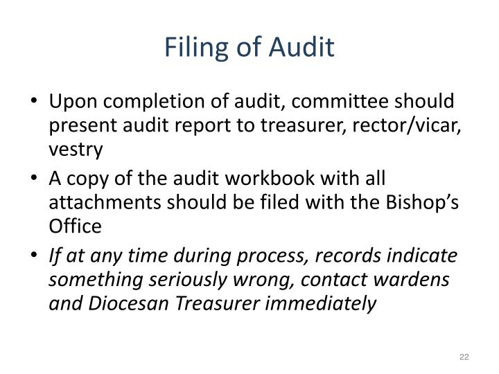 Filing of Audit