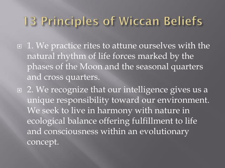 13 Principles of Wiccan Beliefs