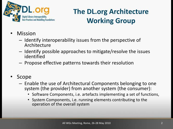 The dl org architecture working group