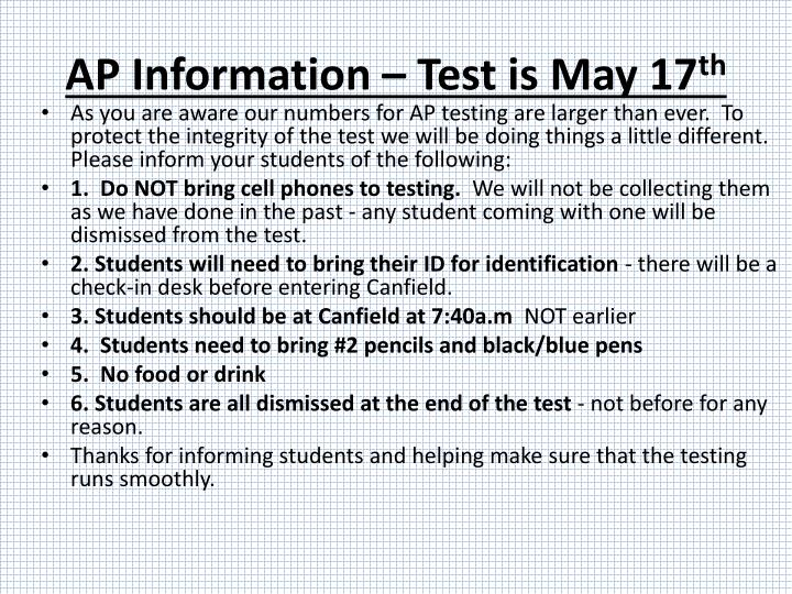 AP Information – Test is May 17