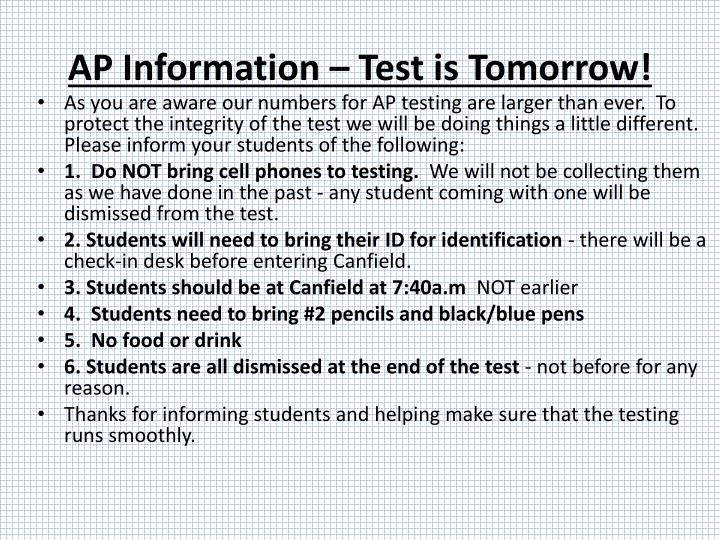AP Information – Test is