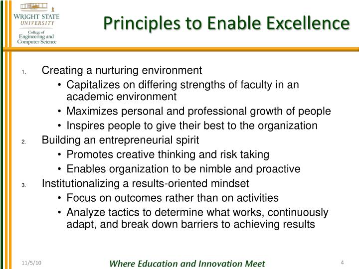 Principles to Enable Excellence