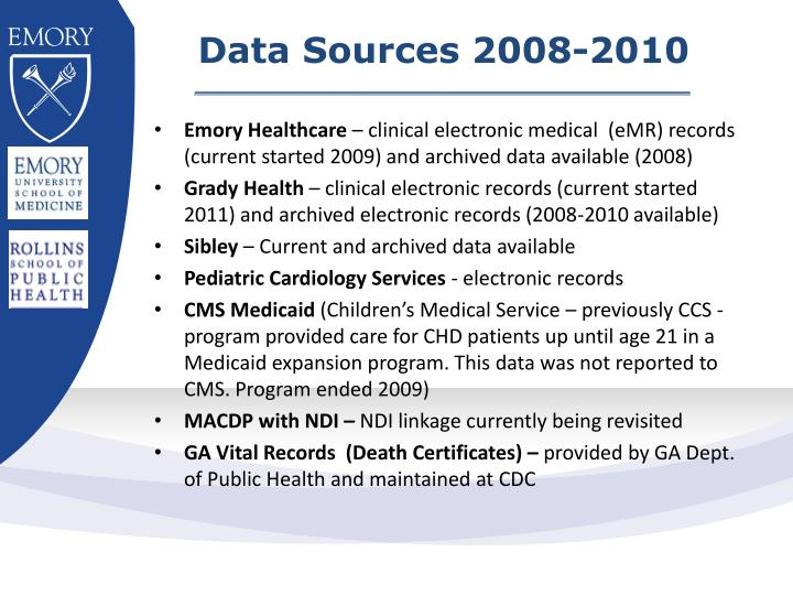 Data Sources 2008-2010