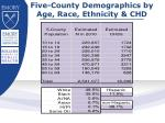 five county demographics by age race ethnicity chd