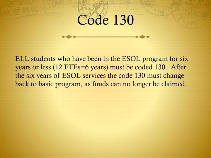 Code 130
