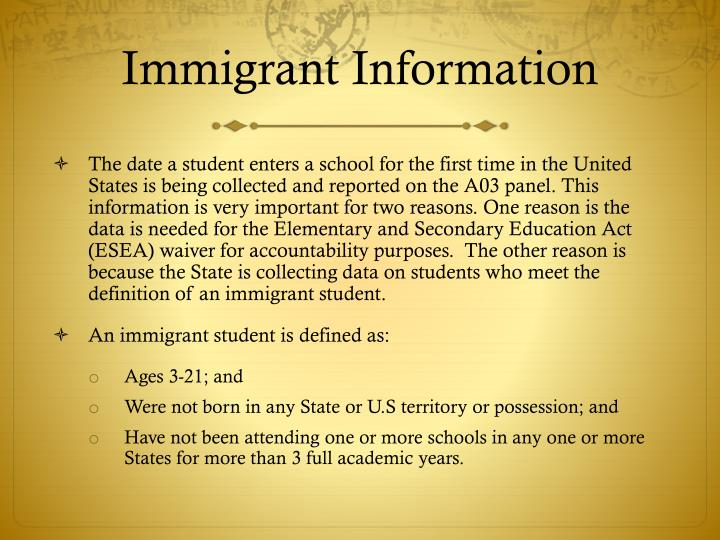 Immigrant Information