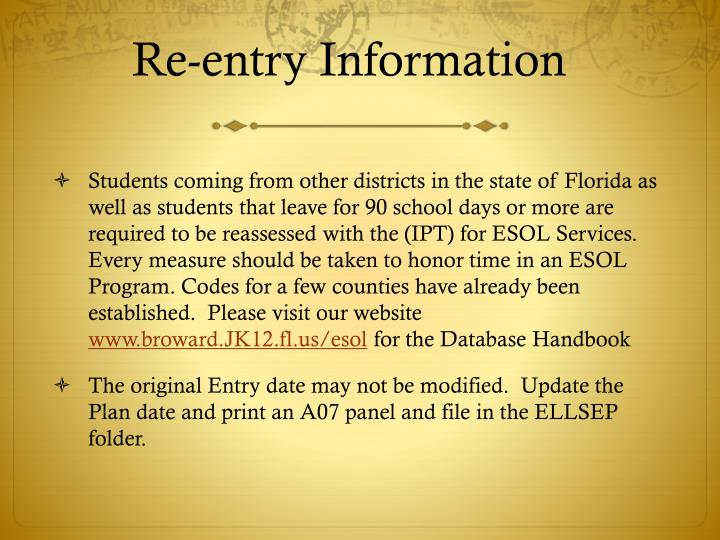 Re-entry Information