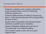 assignment ideas