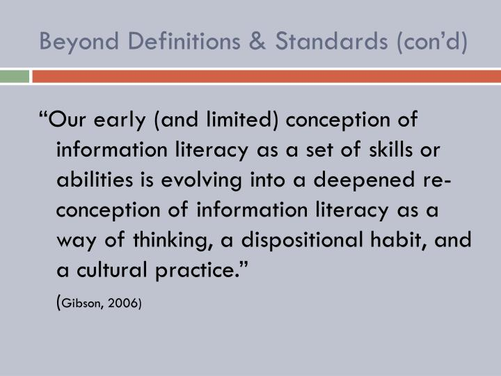 Beyond Definitions & Standards (