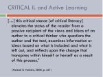critical il and active learning