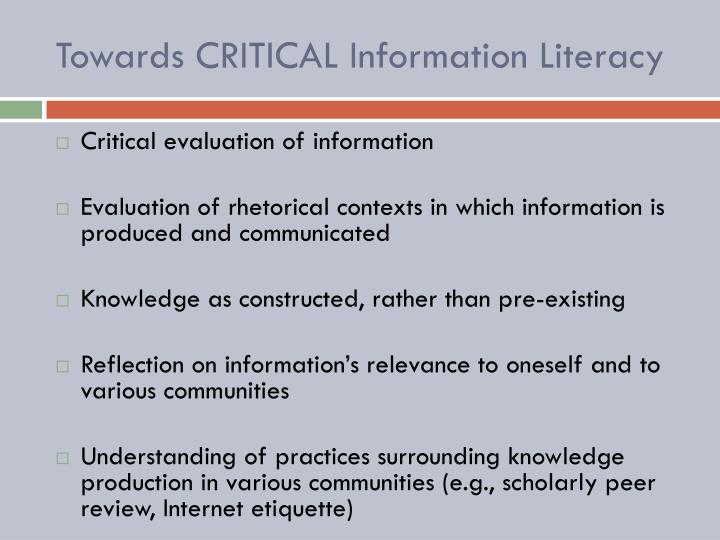 Towards CRITICAL Information Literacy