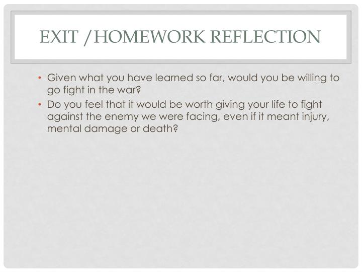 Exit /Homework Reflection