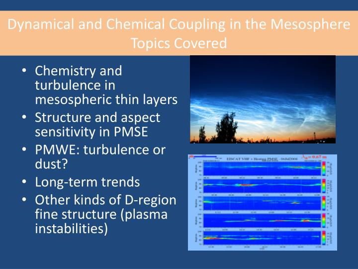 Dynamical and Chemical Coupling in the Mesosphere