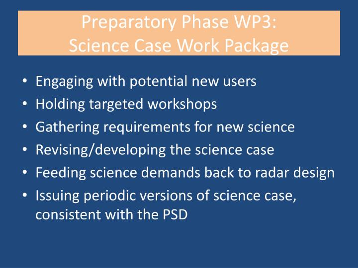 Preparatory phase wp3 science case work package