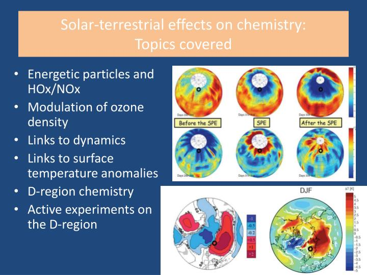 Solar-terrestrial effects on chemistry: