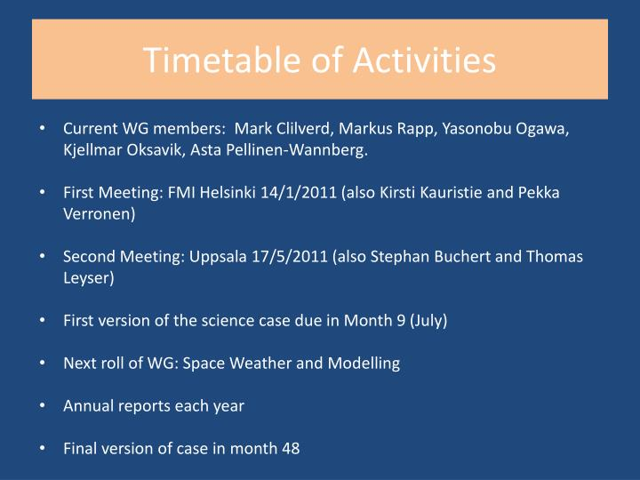 Timetable of Activities