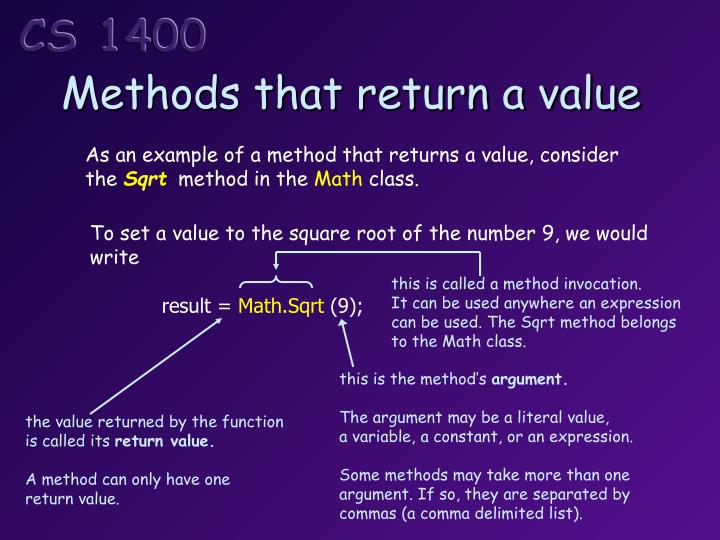 Methods that return a value