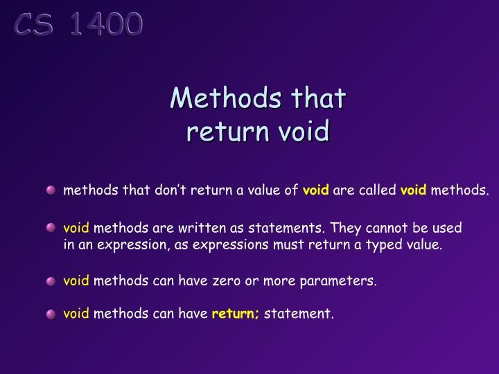 Methods that