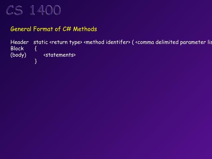 General Format of C# Methods