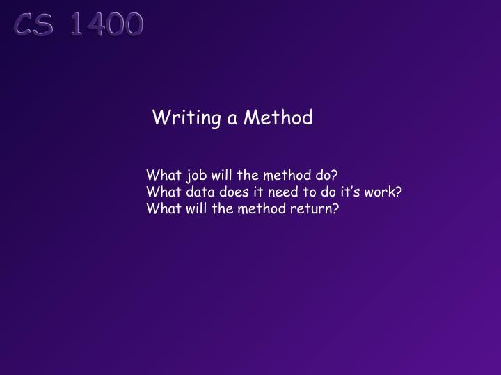 Writing a Method