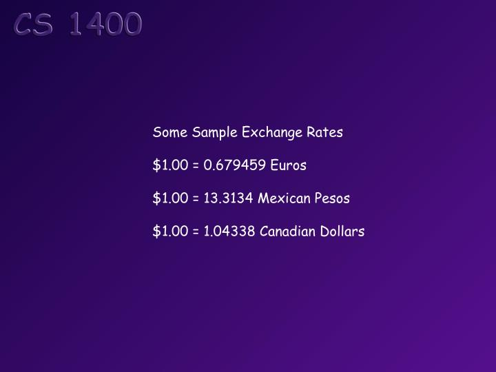 Some Sample Exchange Rates
