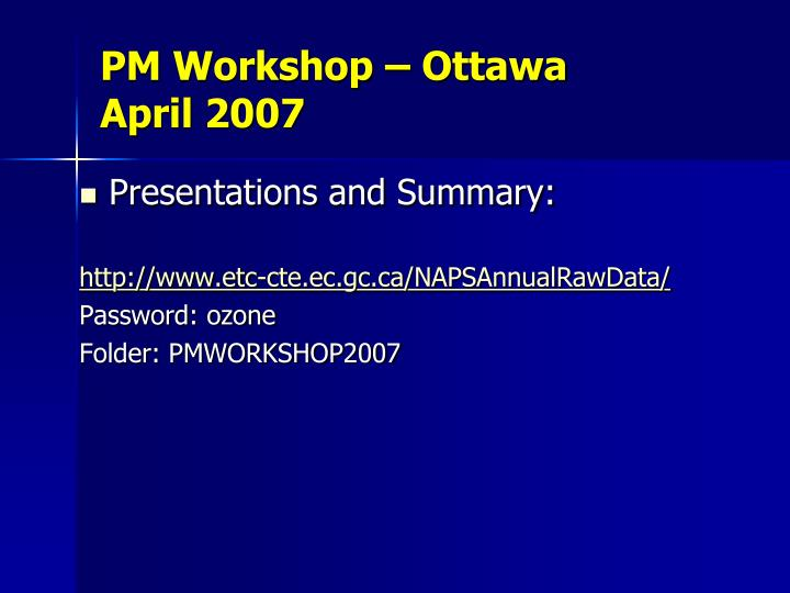 PM Workshop – Ottawa