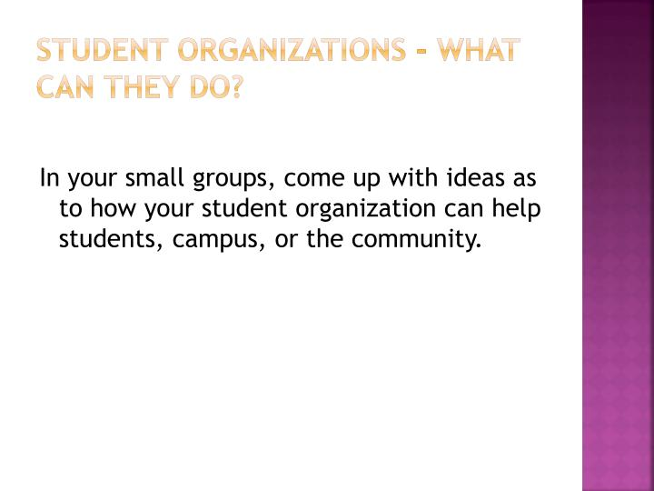 Student Organizations – What CAN they DO?
