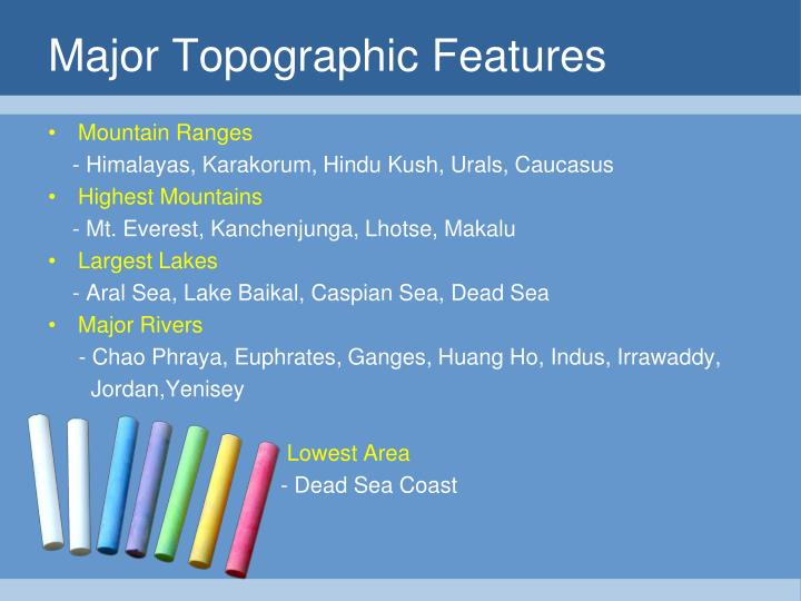 Major Topographic Features