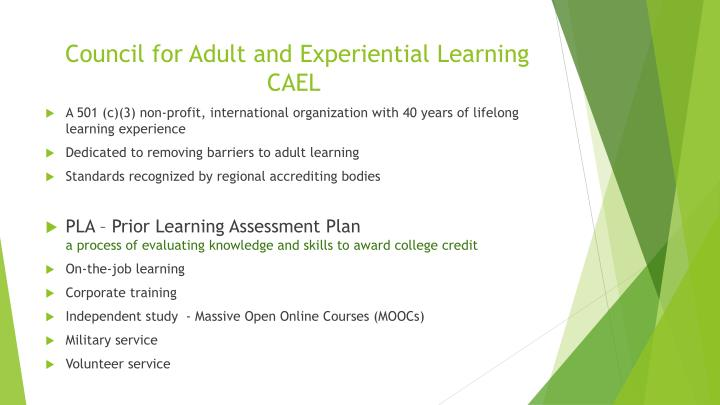 Council for adult and experiential learning cael