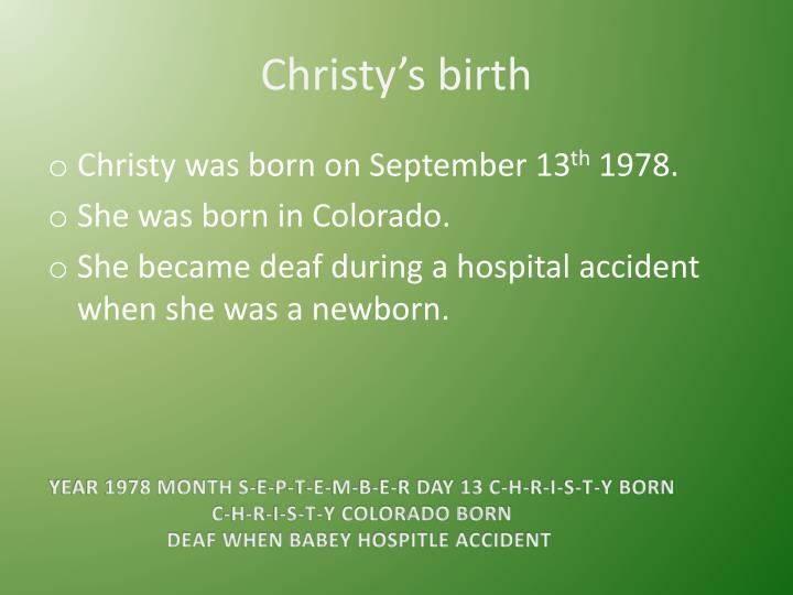 Christy s birth