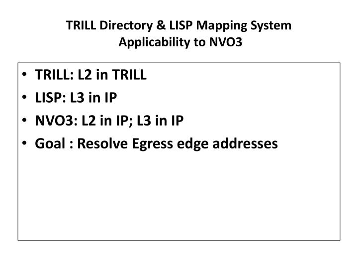 Trill directory lisp mapping system applicability to nvo3