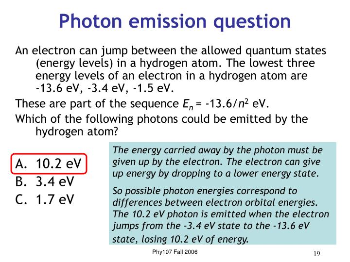 Photon emission question