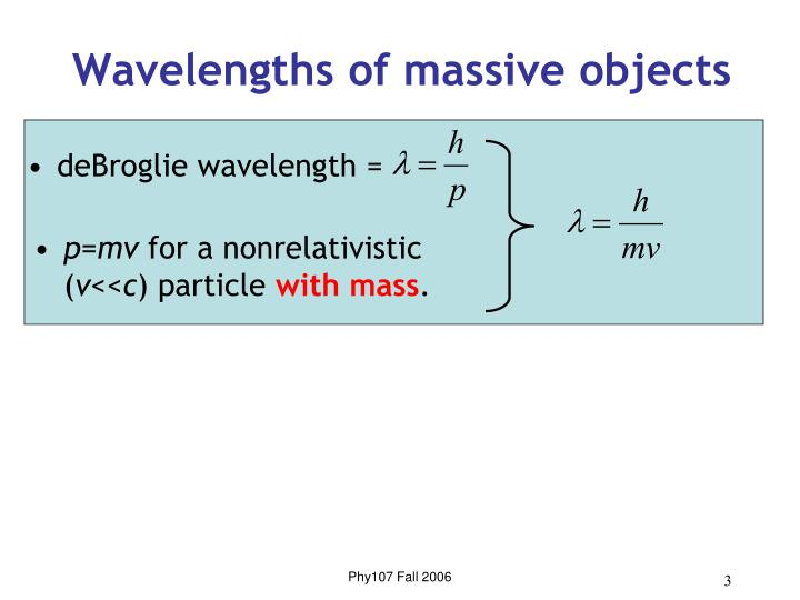 Wavelengths of massive objects