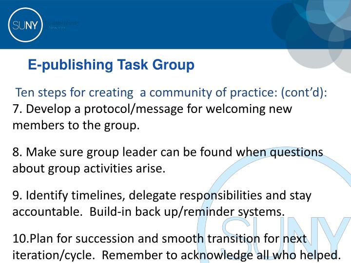 E-publishing Task Group