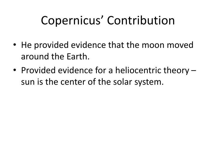 Copernicus' Contribution