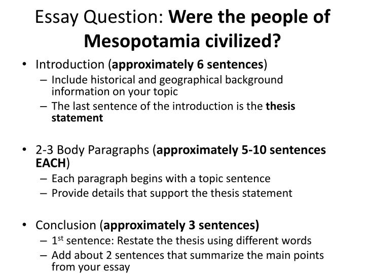 Essay question were the people of mesopotamia civilized