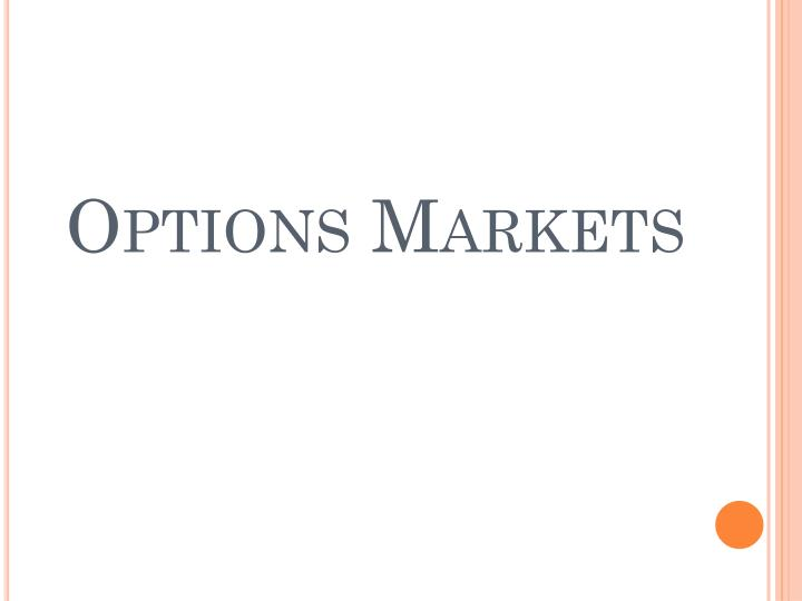 Options Markets