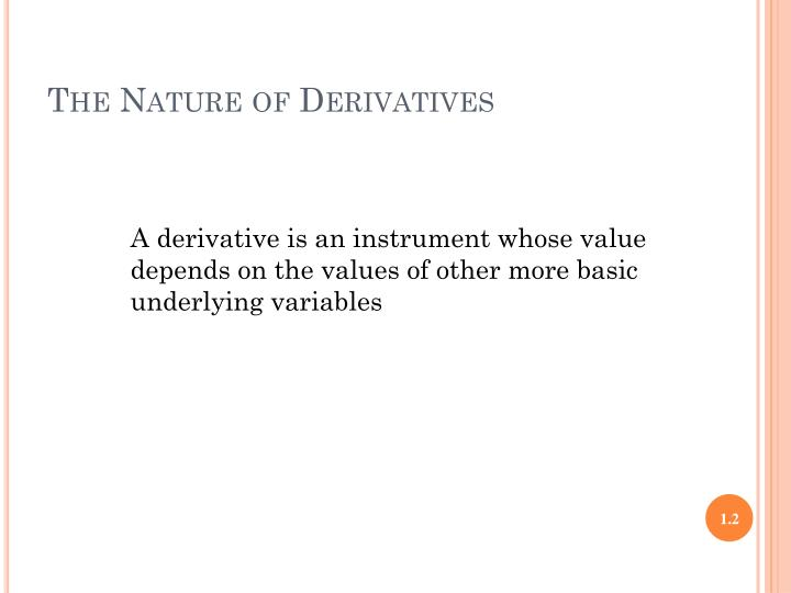 The nature of derivatives