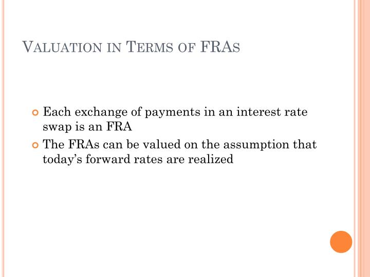Valuation in Terms of FRAs