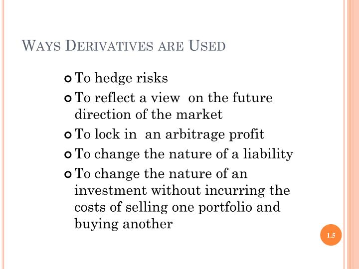 Ways Derivatives are Used