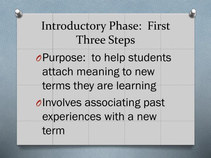 Introductory Phase:  First Three Steps
