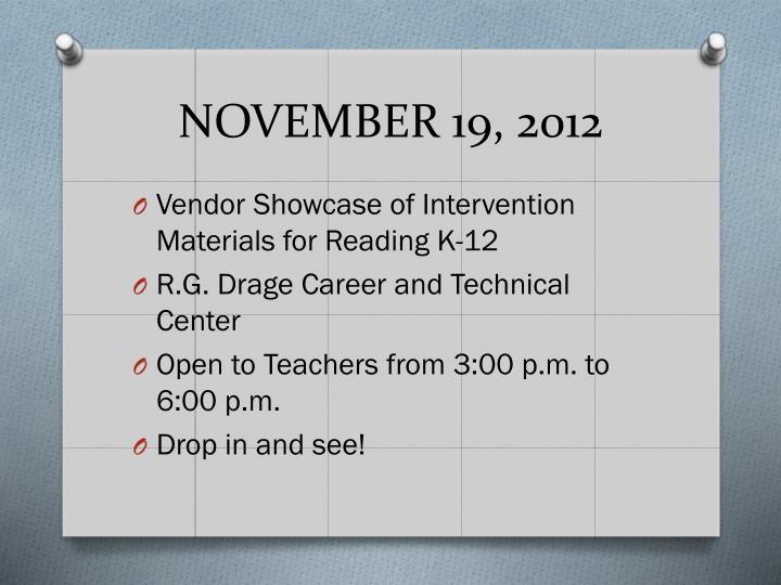 NOVEMBER 19, 2012