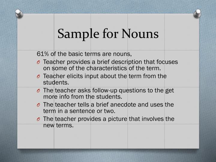 Sample for Nouns