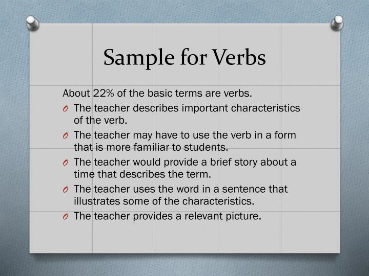 Sample for Verbs