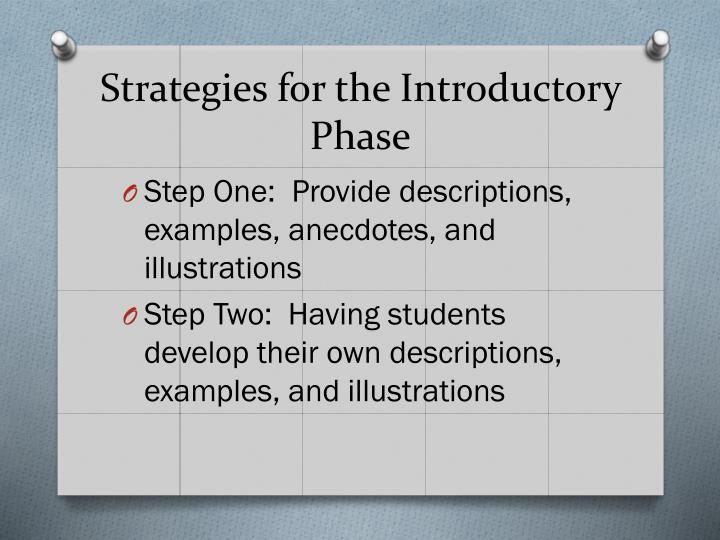 Strategies for the Introductory Phase