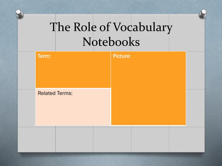 The Role of Vocabulary Notebooks