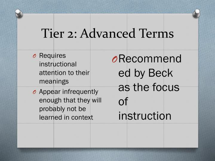 Tier 2: Advanced Terms