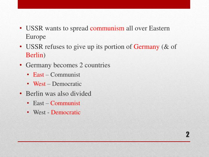 USSR wants to spread