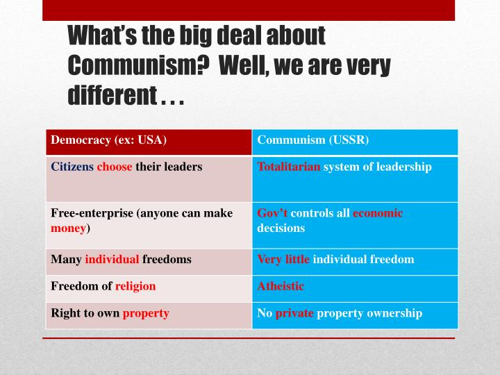 What's the big deal about Communism?  Well, we are very different . . .